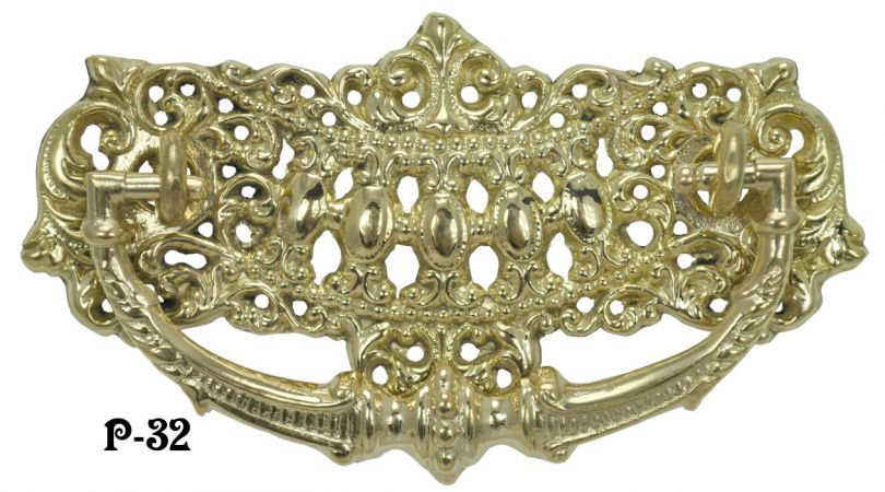"Victorian Crown Design Brass Handle 3"" Boring (P-32)"