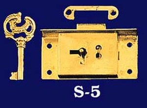 "Half Mortise Lock with Key - 3"" Wide By 1 1/2"" Long (S-5)"