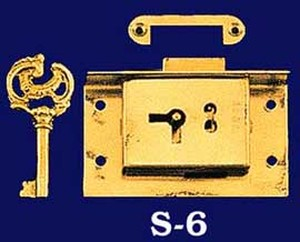 "Half Mortise Lock 3"" by 1 7/8"" Long with Key (S-6)"