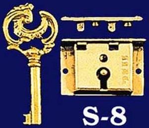 Small Brass Box Lock & Key - 1 1/2