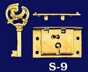 "Small Half Mortise Lock & Key 2"" by 1 1/4"" (S-9)"