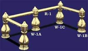 Brass Gallery Rail Large Corner Post (W-1C)
