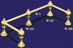 Brass Gallery Rail Small Corner Post (W-2C)