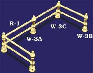 Double Bar Brass Gallery Corner Post (W-3C)