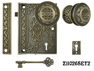 Decorative Surface Mounted Interior Locking Door Set (Z11026SET2)