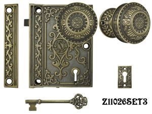 Decorative-Surface-Mounted-Interior-Locking-Door-Set-(Z11026SET3)