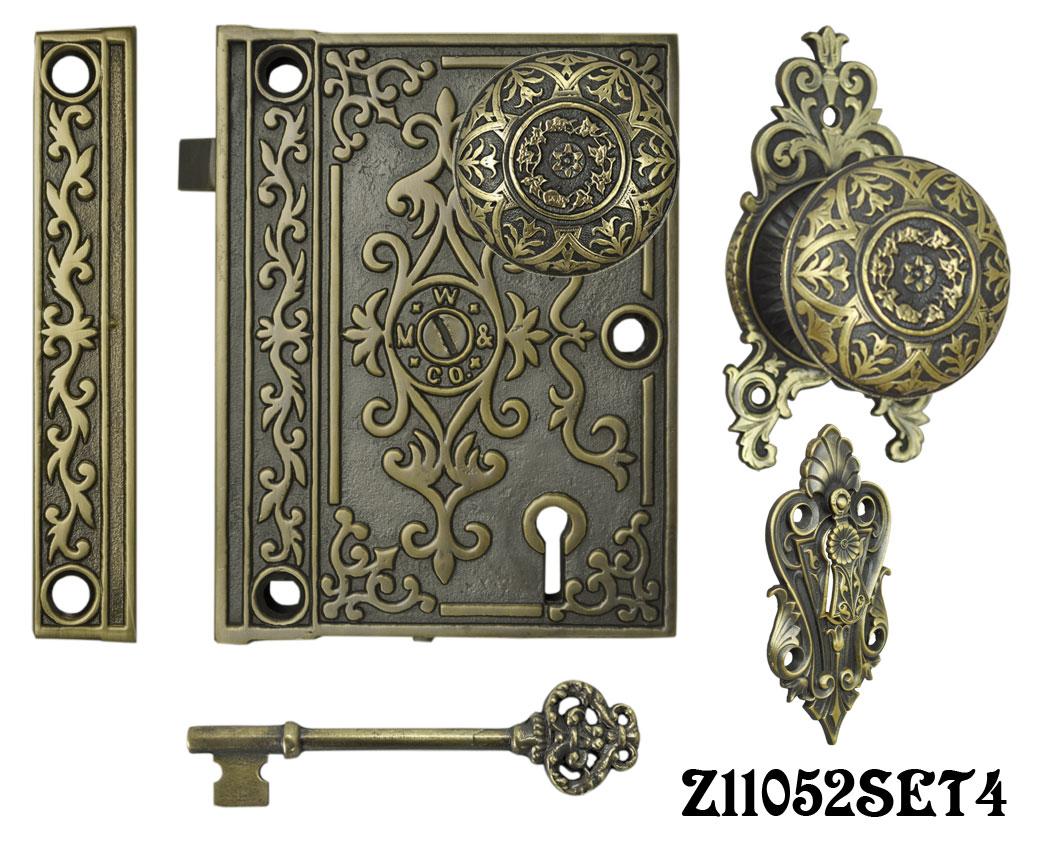 Decorative surface mounted interior locking door set with aesthetic knob z11052set4 for Decorative interior door knobs