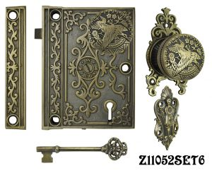 Decorative Surface Mounted Interior Locking Door Set with Aesthetic Knob(Z11052SET6)