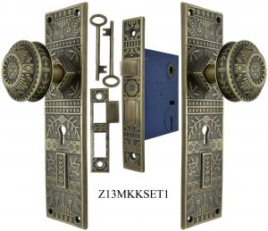 Windsor Pattern Door Plate Set with Locking Keyed Mortise (Z13MKKSET1)