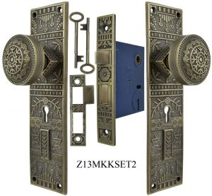 Windsor Pattern Door Plate Set with Locking Keyed Mortise (Z13MKKSET2)