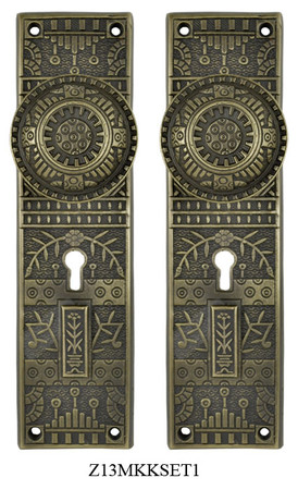 Windsor-Pattern-Door-Plate-Set-with-Locking-Keyed-Mortise-(Z13MKKSET1)