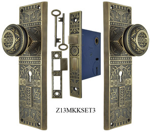Windsor Pattern Door Plate Set with Locking Keyed Mortise (Z13MKKSET3)