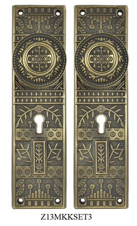 Windsor-Pattern-Door-Plate-Set-with-Locking-Keyed-Mortise-(Z13MKKSET3)