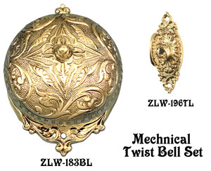 Recreated Interior Mechanical Fancy Victorian Rococo Twist Doorbell SET (Z183S3-PB)