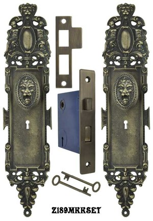 Roaring Lion Door Plate Set with Locking Keyed Mortise (Z189MKKSET)