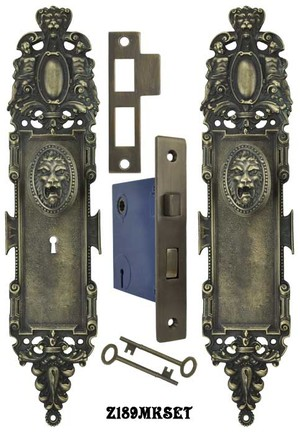 Roaring Lion Door Plate Set with Locking Keyed Mortise  (Z189MKSET)