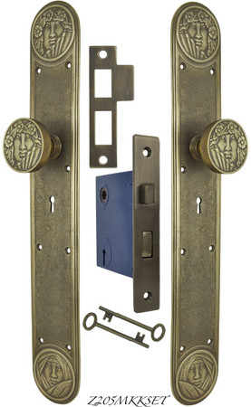 Recreated Art Nouveau Lady Face Door Set with Locking Keyed Mortise (Z205MKKSET)