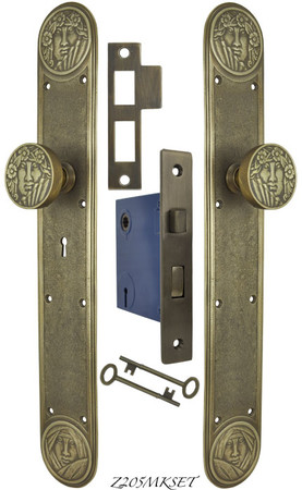Recreated Art Nouveau Lady Face Door Set with Locking Keyed Mortise (Z205MKSET)