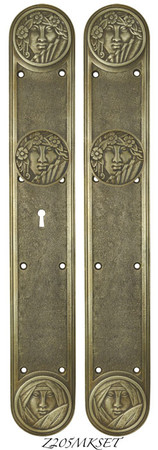 Recreated-Art-Nouveau-Lady-Face-Door-Set-with-Locking-Keyed-Mortise-(Z205MKSET)