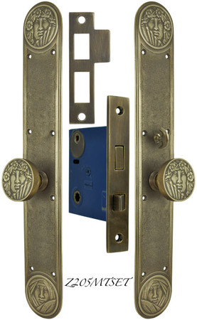 Art Nouveau Style Lady Face Door Set with Locking Turnlatch Mortise (Z205MTSET)