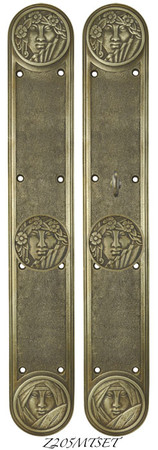 Art-Nouveau-Style-Lady-Face-Door-Set-with-Locking-Turnlatch-Mortise-(Z205MTSET)