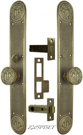 Art Nouveau Recreated Lady Face Passage Set with Locking Turnlatch (Z205PTSET)