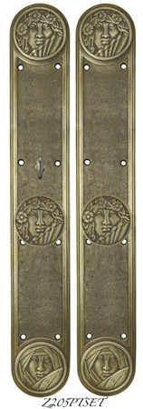 Recreated-Art-Nouveau-Lady-Face-Passage-set-with-Locking-Turnlatch-(Z205PTSET)