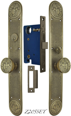Recreated Art Nouveau Lady Face Entry Door Plate Set (Z205SET)