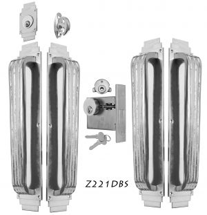 Art Deco Large Double Handle Pull DeadBolt Entry Set (Z221DBS)