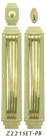 Art Deco Large Handle Pull DeadBolt Entry Set (Z221SET-PB)