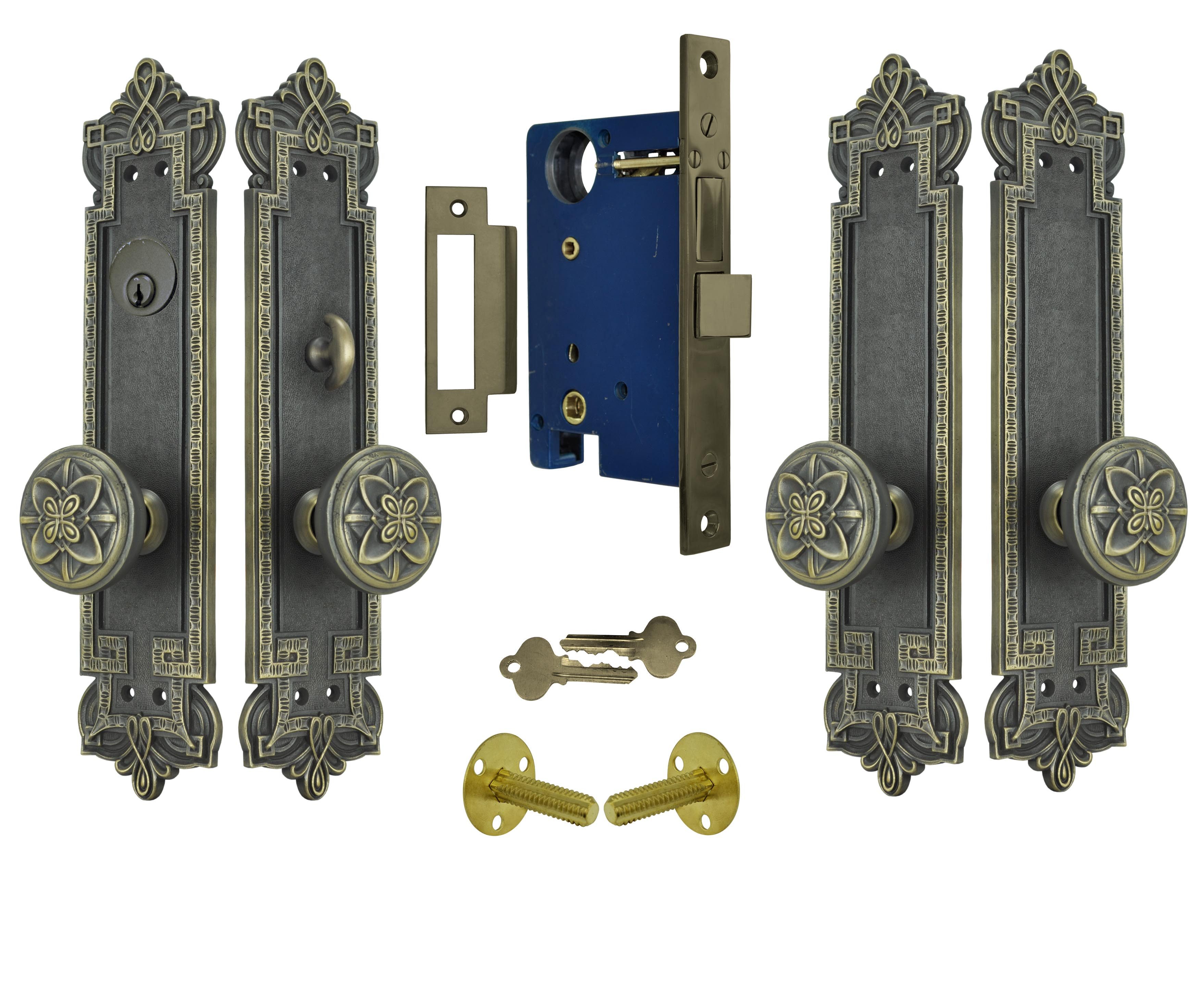 2916 #1B325C Vintage Hardware & Lighting Gothic Byzantine Double Door Entry Set  wallpaper Hardware For Double Entry Doors 46553516