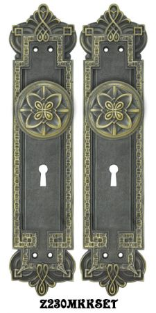 Gothic Byzantine Door Plates Set with Locking Keyed Mortise Lock (Z230MKKSET)