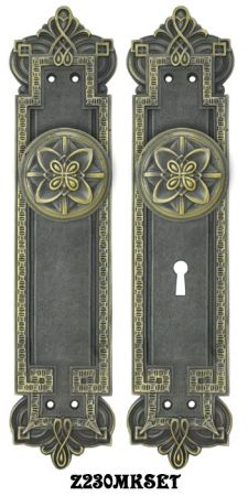 Gothic Byzantine Door Plates Set with Locking Keyed Mortise Lock (Z230MKSET)