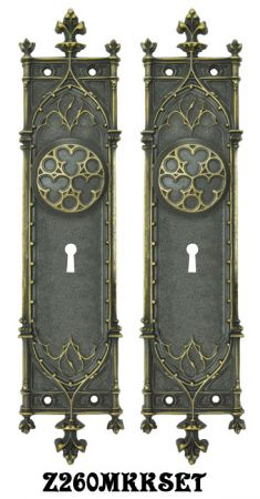Victorian Amiens Gothic Door Plates Set with Locking Keyed Mortise Lock (Z260MKKSET)