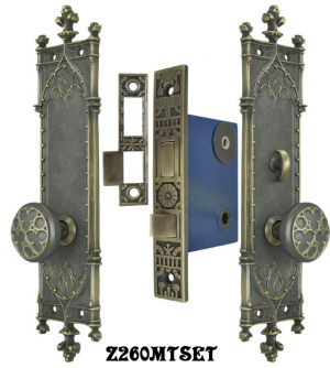 Gothic-Amiens-Door-Plates-Set-with-Turnlatch-Mortise-(Z260MTSET)