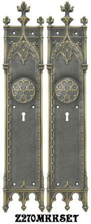 Large Victorian Amiens Gothic Door Plates Set with Locking Keyed Mortise Lock (Z270MKKSET)