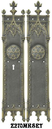 Large Victorian Amiens Gothic Door Plates Set with Locking Keyed Mortise Lock (Z270MKSET)