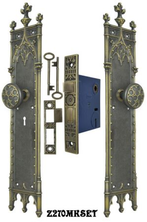 Large-Victorian-Amiens-Gothic-Door-Plates-Set-with-Locking-Keyed-Mortise-Lock-(Z270MKSET)