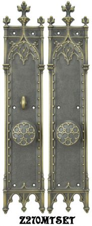 Large Gothic Amiens Door Plates Set with Turnlatch Mortise (Z270MTSET)