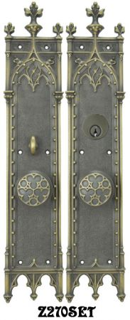 Victorian Large Amiens Gothic Door Plate Entry Set (Z270SET)