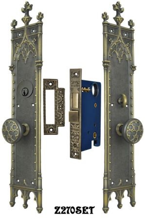 Victorian-Large-Amiens-Gothic-Door-Plate-Entry-Set-(Z270SET)