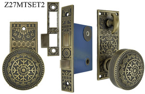 Small Victorian Style Windsor Pattern Privacy Door Set with Turnlatch Mortise (Z27MTSET2)