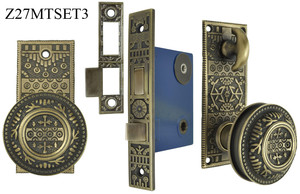 Victorian Style Windsor Pattern Small Plate Door Set with Turnlatch Mortise (Z27MTSET3)