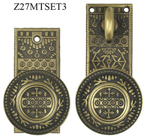 Victorian-Style-Windsor-Pattern-Small-Plate-Door-Set-with-Turnlatch-Mortise-(Z27MTSET3)