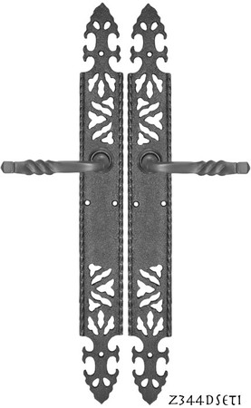 Gothic-or-Arts-and-Crafts-Iron-Door-Plate-Dummy-Set-(Z344DSET1)