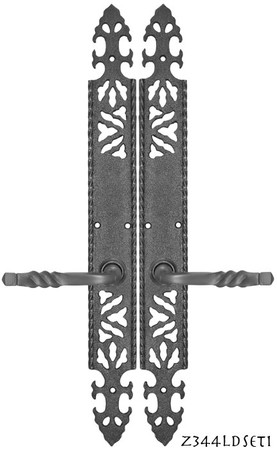 Gothic-or-Arts-and-Crafts-Iron-Door-Plate-Low-Knob-Dummy-Set-(Z344DSET1)