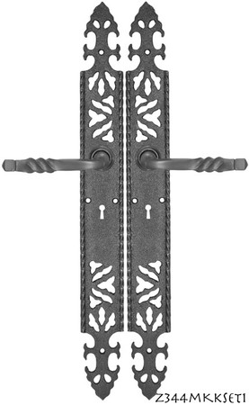Gothic-or-Arts-&-Crafts-Iron-Door-Plate-Set-with-Mortise-Lock-(Z344MKKSET1)