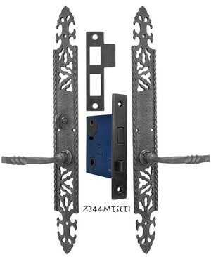 Gothic or Arts and Crafts Iron Door Plate Set with Locking Turnlatch Mortise (Z344MTSET1)
