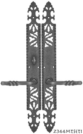Gothic-or-Arts-and-Crafts-Iron-Door-Plate-Set-with-Locking-Turnlatch-Mortise-(Z344MTSET1)