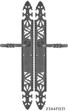 Gothic-or-Arts-and-Crafts-Iron-Door-Plate-Passage-Set-(Z344PSET1)